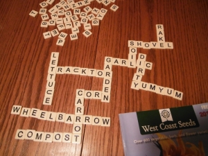 Tonight's edition of Bananagrams: Anything To Do With Gardening. Inspired by the seed catalogues arriving in the mail.