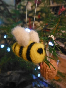 Some of our favourite handmade ornaments are nut shells and felted bees.